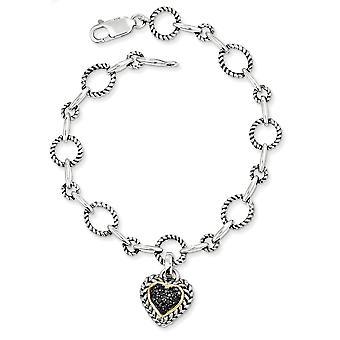 925 Sterling hopea kuvioitu kiillotettu prong asetettu Hummeri Kynsien sulkeminen 14k keltainen musta timantti rakkaus sydän 7,5 tuuman bracel