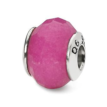 925 Sterling Silver Faceted Polished finish Reflections Fuschia Quartz Stone Bead Charm Pendant Necklace Jewelry Gifts f