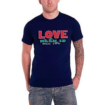 The Beatles camiseta tudo que você precisa é amor palavras banda logo oficial Mens Blue