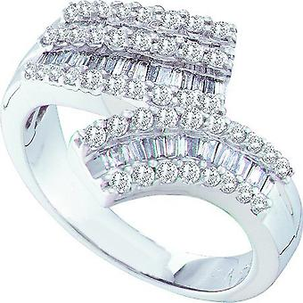 Dazzlingrock Collection 0.86 Carat (ctw) 14k Round & Baguette Cut White Diamond Ladies Fashion Right Hand Band Ring, White Gold