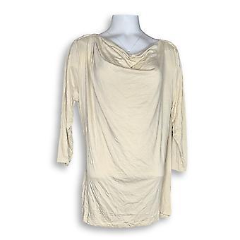 H di Halston Women's Top Draped Wrap Back 3/4 Sleeve Knit Beige a271113