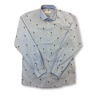 Eton Blue contemporary fit shirt in blue/white floral stripe