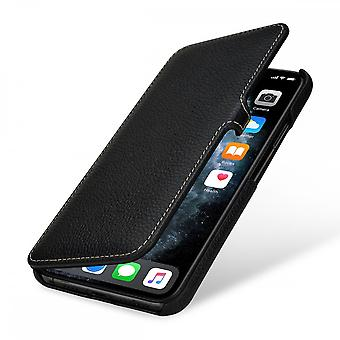 Case For iPhone 11 Pro Max Book Type Grained Black In True Leather