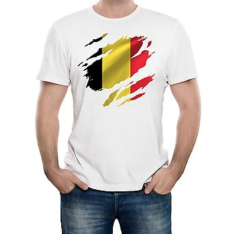 Reality glitch torn belgium flag mens t-shirt