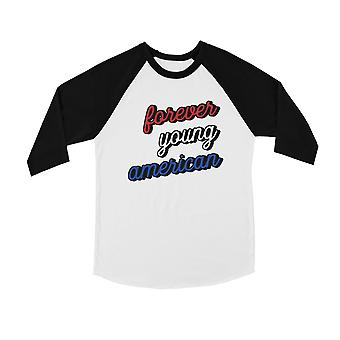 365 Printing Forever Young American Youth honkbal Tee 4e van juli outfit gift