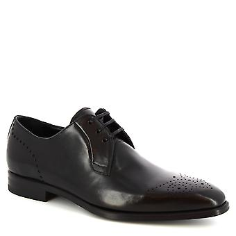Leonardo Shoes Men's handmade oxford lace-ups shoes in black calf leather