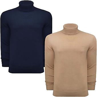 Lambretta Mens Roll Neck Casual Cotton Knit Knitted Sweater Pullover Jumper Top