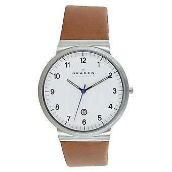 Relógio de pulso dos homens de Skagen Ancher couro SKW6082