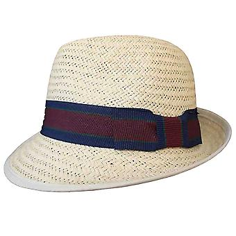 Mens kwaliteit stro Trilby Bush hoed M s16 blauwe band