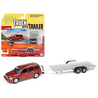 2006 Chevrolet HHR Daytona Metallic Orange with Chrome Open Car Trailer Limited Edition to 3,604 pieces Worldwide Truck and Trailer Series 3 1/64 Diecast Model Car by Johnny Lightning