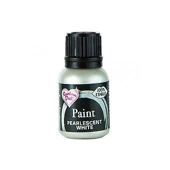 Regenbogen Staub Metallic Food Paint 25ml , Pearlescent Weiß