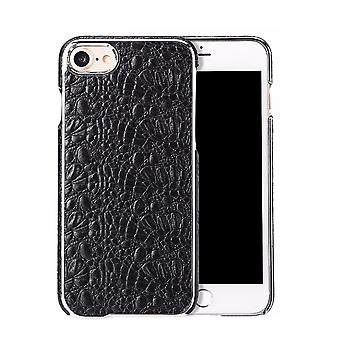 För iPhone SE(2020), 8 & 7 mål, Fierre Shann Crocodile Durable Äkta läderomslag, Svart