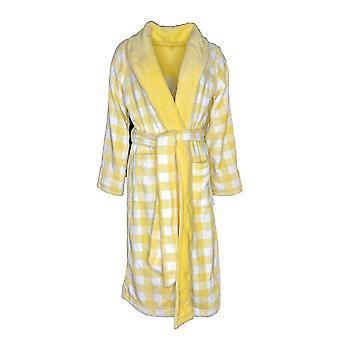 Isaac Mizrahi Live! Kvinder's Robe Gingham Print Plush Yellow A272606