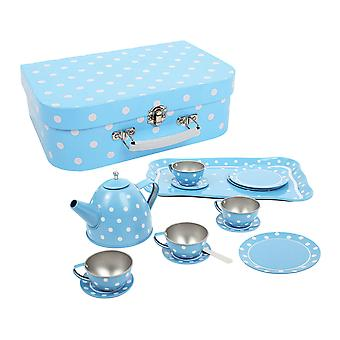Bigjigs Jucarii Blue Polka Dot Ceai Set cu Carry Basket Picnic Roleplay
