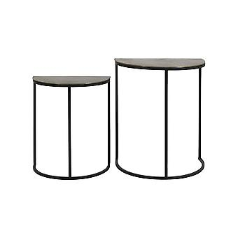 Light & Living Side Table Set Of 2 40x23x49 And 46x30x55cm Peto Raw Antique Bronze-Blac