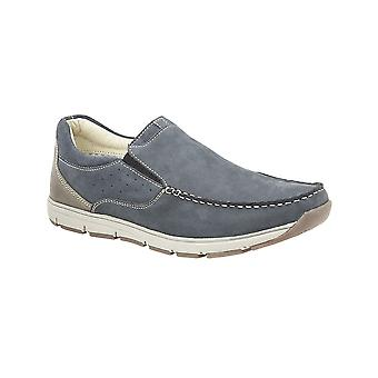 Roamers Navy Nubuck Twin Gusset Panel Casual Shoe