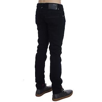 Acht dunkelblau Corduroy Slim Skinny Fit Jeans