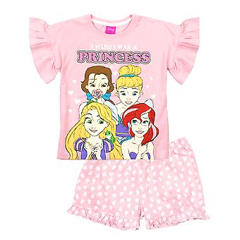 Disney Princesses Girls Pink Cotton Short Pyjama Set