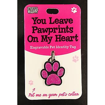 Wags & Whiskers Pet Identity Tag - Pawprints (rosa)
