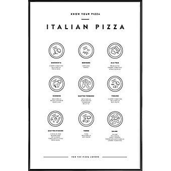 JUNIQE Print - Know your Pizza - Food & Drink Poster in Black & White