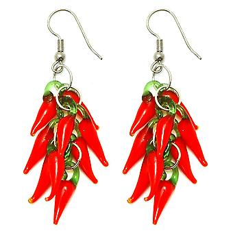 Red Hot Chilli Glass Drop Cluster Earrings