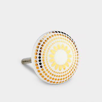 Keramik Türknopf - weiß / Gold