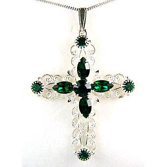 CRYSTAL WORLD Sterling Silver Emerald Cross Pendant Made with Swarovski Crystals