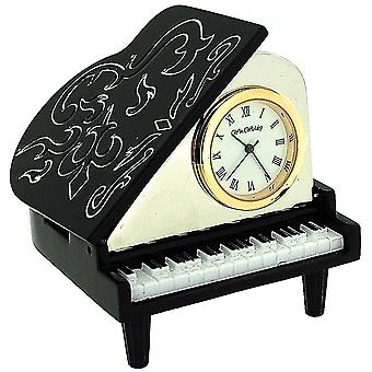 Miniature Baby Grand Piano Black & White Novelty Collectors Clock 9877