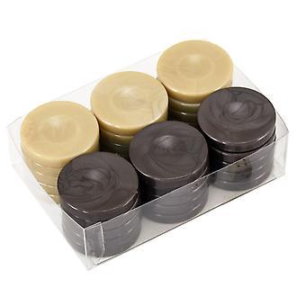 Backgammon stenen Beige & houtskool 36mm