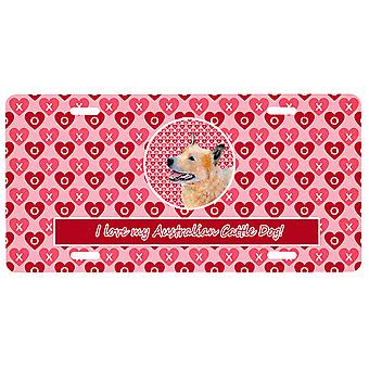 Australian Cattle Dog Valentine's Love and Hearts License Plate