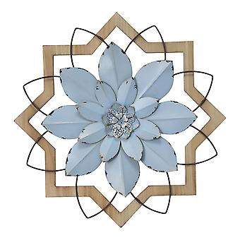 Light Blue Flower Metal & Wood Framed Wall Art