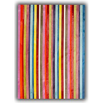 Rugs -Patchwork Leather Cowhide - Multi Colour Vertical Stripes