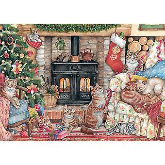 Falcon De Luxe Puzzle - Weihnachten Katzen, 500 Stück