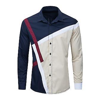 Allthemen Men's Casual Loose Colorblock Pleated Long Sleeve Shirt