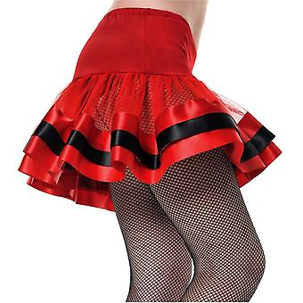 Underkjol röd svart färgband