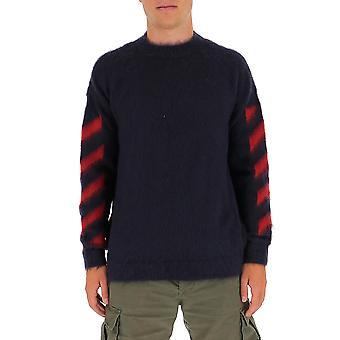 Off-white Omha036e20kni0010725 Männer's blaue Wolle Pullover
