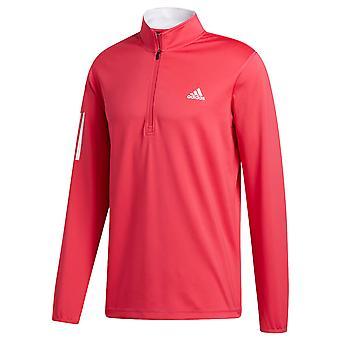 adidas Golf Mens 3 Stripe Midweight LC Logo 1/4 Zip Sweater