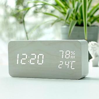 Relógio de alarme de controle de voz de madeira led