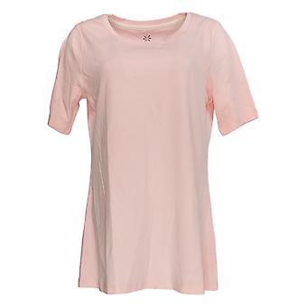 Isaac Mizrahi Live! Women's Top Short Sleeve Swing Hem Pink A354986