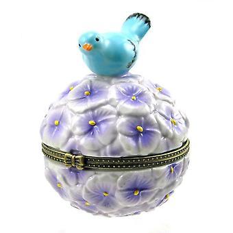 紫の花のマウンドの幸せのブルーバード ヒンジ磁器小物入れ