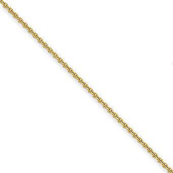 14k Gul Guld 2.2mm Solid poleret Kabel Chain Anklet Hummer Claw smykker Gaver til kvinder - Længde: 9 til 10