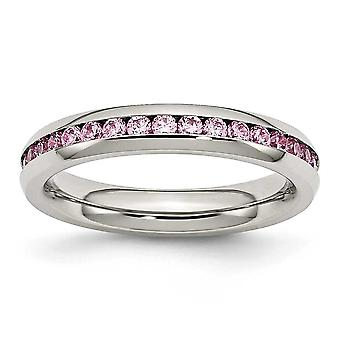 Rustfrit stål poleret 4mm oktober Pink CZ Cubic Zirconia simuleret Diamond Ring smykker Gaver til kvinder - Ring Størrelse: