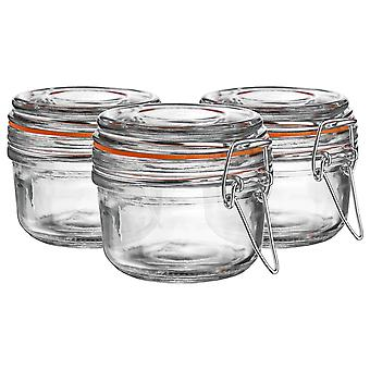 Argon Tableware Glass Storage Jars with Airtight Clip Lid - 125ml Set - Orange Seal - Pack of 6