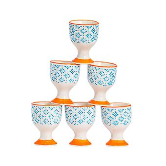 Nicola Spring 6 Piece Hand-Printed Egg Cup Set - Japanese Style Porcelain Breakfast Hard Soft Boiled Eggs Holder - Blue