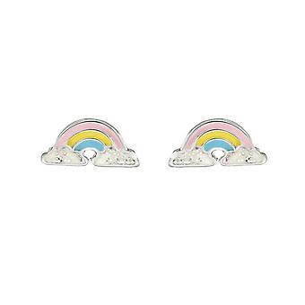 Dew sterling zilver Dinky Rainbow multi glazuur Stud Oorbellen 3556ME028