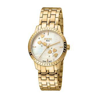 Ferre Milano Women's FM1L128M0031 Champagne MOP Dial Gold IP Steel Wristwatch