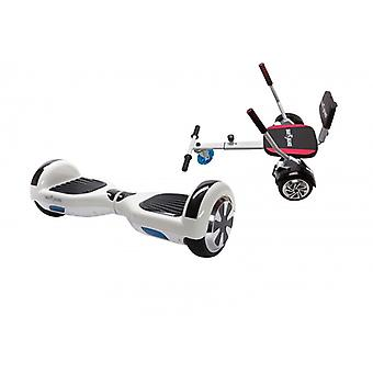 Pakket Smart Balance™ Hoverboard 6,5 inch, gewone witte parel + hoverseat met spons, motor 700 Wat, Bluetooth, Led