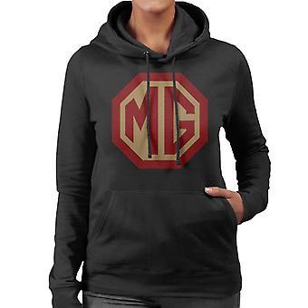 MG rød og gull logo britiske motor heritage kvinner's hettegenser