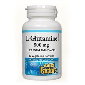 العوامل الطبيعية ميكروينized L-الجلوتامين، 500 ملغ، 90 قبعات الخضار