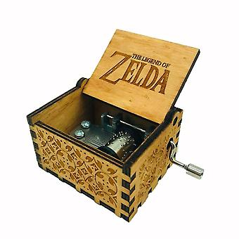 La leyenda de Zelda Music Box Antique carved wooden hand crank para niños